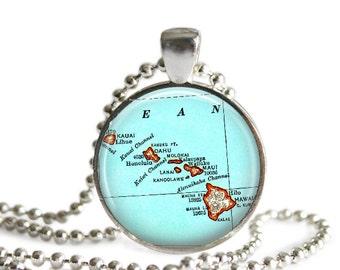 Hawaiian necklace pendant charm, Hawaii map necklace, Hawaiian Jewelry by LocationInspirations, honeymoon gift, anniversary gift, A226