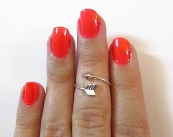 Adjustable Arrow Knuckle Midi Ring / Arrow Band / For Her / 3 Colors