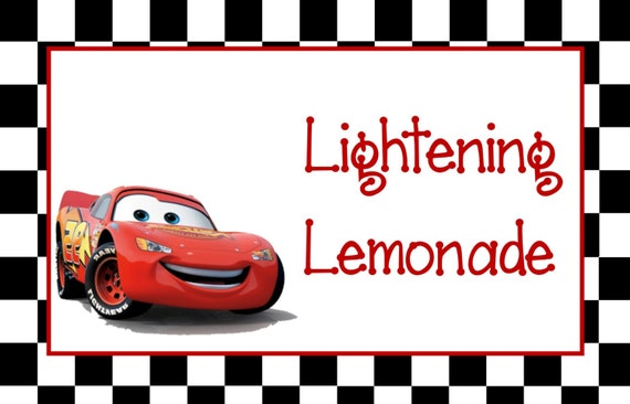 Disney Cars Birthday Party Food Labels