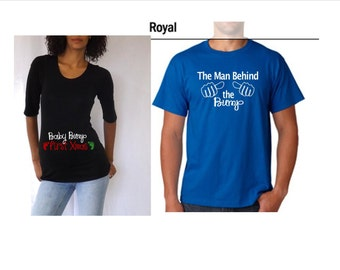 """Christmas Maternity Gift Set mom and dad to be Shirts, """"Baby bump first Christmas"""" and """"The man behind Bump"""""""