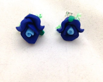 Dark Blue Flower Post Earrings
