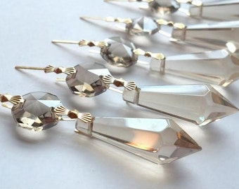 5 Icicle Chandelier Crystals Champagne 38mm Shabby Chic Hollywood Regency Prism