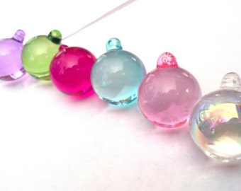 6 SMOOTH 30mm Chandelier Crystal Ball Prisms -Pink Aqua Lilac Spring Green Fuchsia AB
