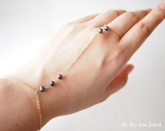 "Slave bracelet finger  bracelet hand chain  - 14k gold filled-  with Fresh water pearl ""Black"" -dainty"