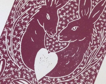 Hand printed linocut Hare 4 You original artwork