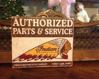 "9"" x 12"" wood Indian Motorcycle parts sign."