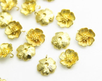 6 pcs of brass floral charm 11mm-1679-Raw brass