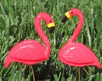 "Miniature ""plastic"" Pink Flamingo Lawn Ornament Pair for Fairy Garden OOAK handmade"