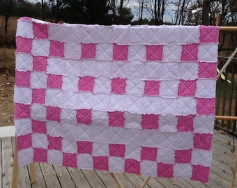 Twin Size Pink Flowered Quilt