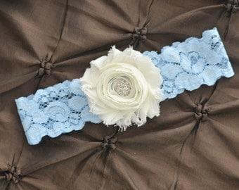 Wedding Garter, Bridal Garter - Lace Garter, Toss Garter, Shabby Chiffon Rosette Ivory Wedding Garter, Something Blue