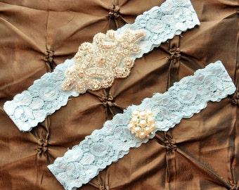 Wedding Garter Set, Bridal Garter Set - Blue Lace Garter, Keepsake Garter, Toss Garter, Crystal Embellishment Blue, Something Blue Garter