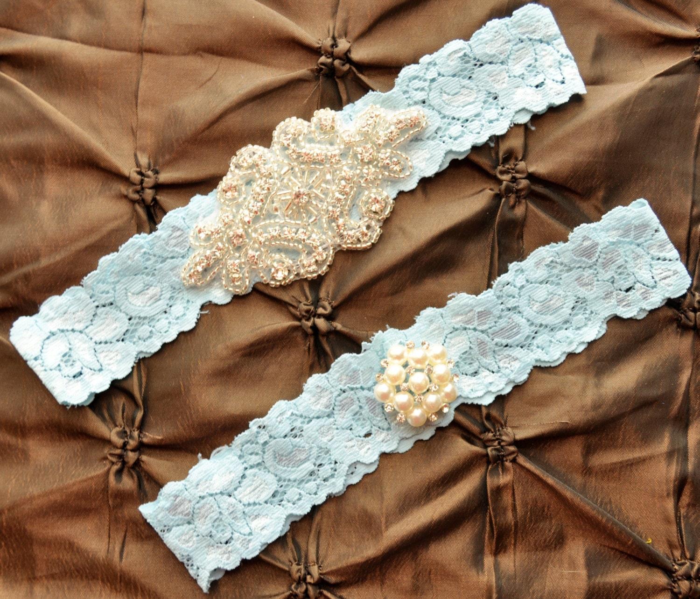 Wedding Garter Set Bridal Garter Set Blue Lace Garter