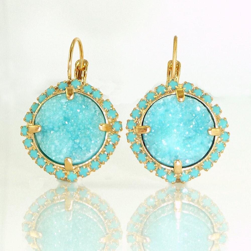turquoise statement earrings lever back dangle earrings. Black Bedroom Furniture Sets. Home Design Ideas
