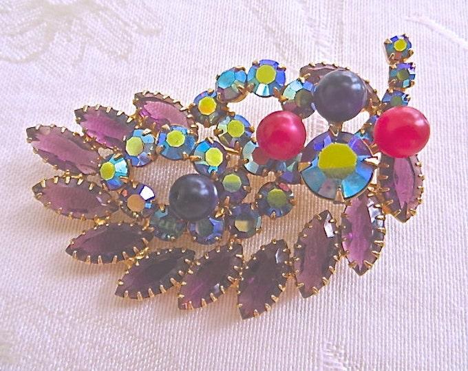 Vintage Rhinestone Brooch Purple Open Back Navette Stones Juliana Style
