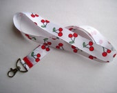 Cherries key lanyard, I.D card, badge holder, fits all ages.