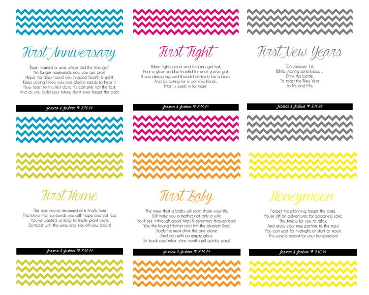Wedding Gift Wine Bottle Poems : Wine Bottle Labels for First Milestones First Anniversary