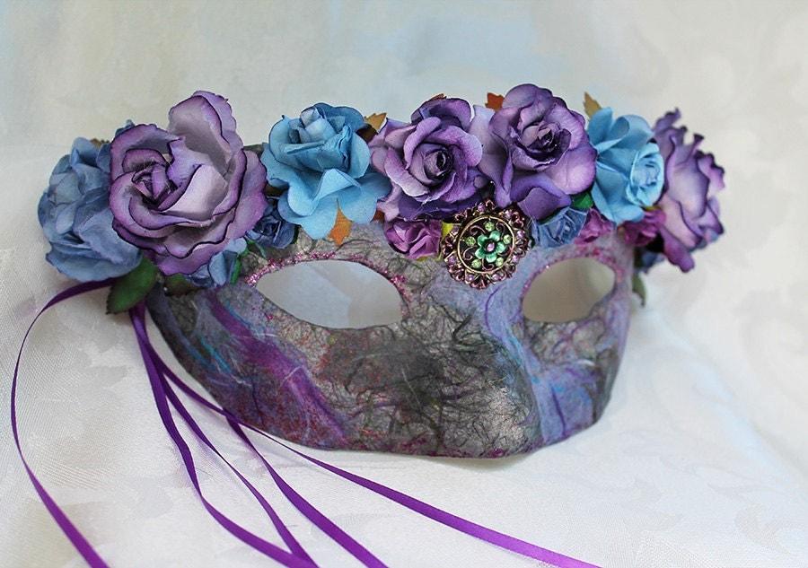 Blue Purple Lavender Mulberry Flower Masquerade Mask
