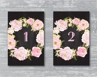 "Peony Flower Chalkboard Wedding Reception Table Numbers 1-10 DIY Wedding Signage 6x4"""