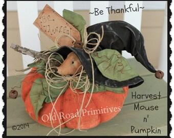 Primitive Mouse Pattern Be Thankful Harvest Mouse n' Pumpkin Fall ePattern