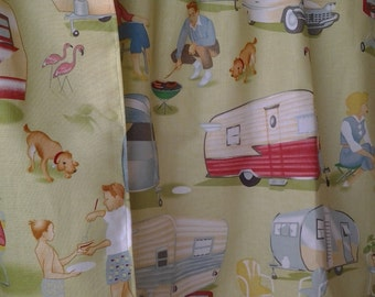 LAST ONE!!! Travel Trailer valance with red pom trim