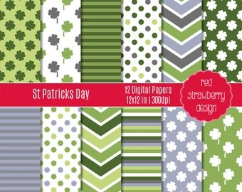 75% OFF Sale - St Patricks Day - 12 Digital Papers - Instant Download - JPG 12x12 (DP188)