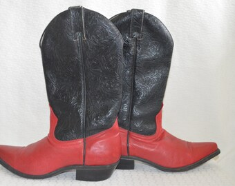Red and Black 'Boulet' Cowgirl Boots - Women's 8