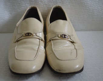 Cream Patent Leather Slip On Loafers - Men's 8 1/2
