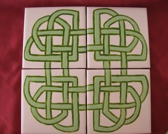 Tile Coasters Set of 4 Lt and Dk Green Color Celtic Knot Design Hand Painted Kiln FIred Glazes