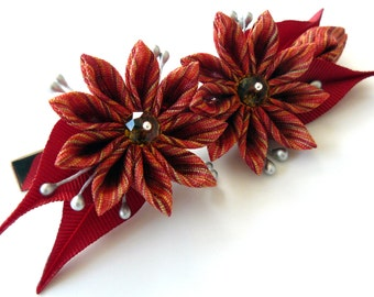 Kanzashi fabric flower hair clip. Red kanzashi. Red flower hair clip.