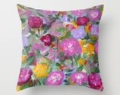 Floral Pillow Cover,Fine Art Pillow Cover,Floral Garden Colorful, Home Decor, Flowers, Romantic Gifts ,Purple Yellow Dark Rose Pink Green