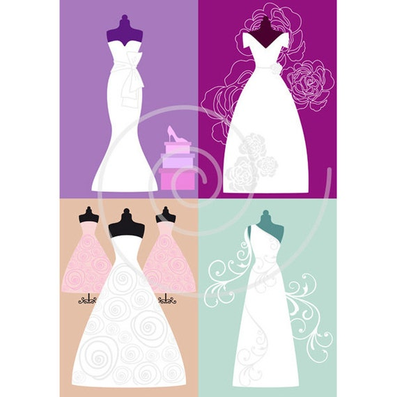 White Wedding Dresses Digital Clip Art Set Bride Bridal Clipart For Shower Invitation JPG PNG EPS Instant Download