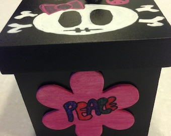 Solid Wood Box with Handled Lid - Skull on Top with peace signs, flowers, and messages all around.
