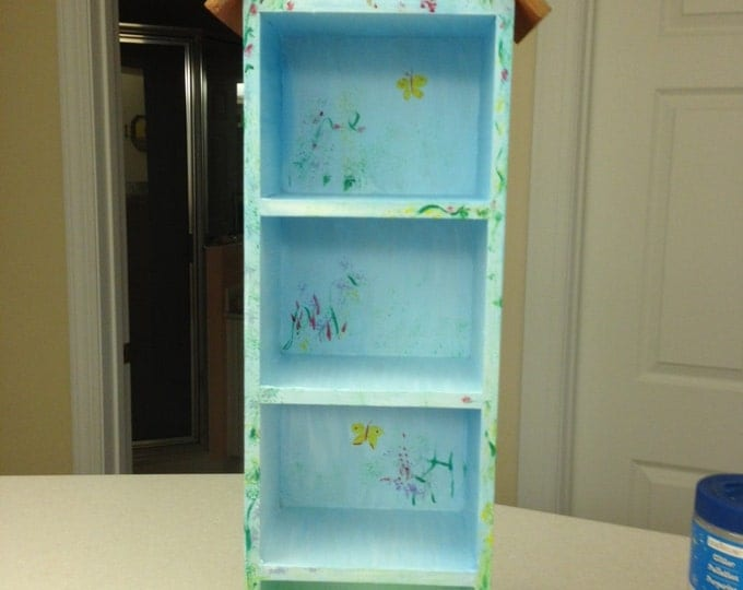 Wood Birdhouse Shelf Display Cabinet