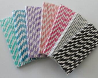 25 Paper Straws / Party Supplies / Striped Straws Paper Party Wedding Straws / Birthdays / Shower Decor / Wedding Supplies / Party Supplies