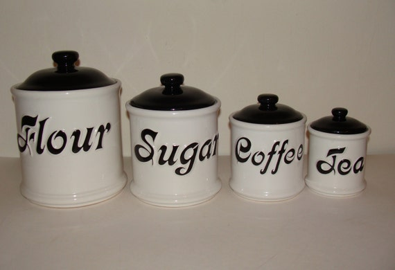 vintage black white retro ceramic kitchen canisters 4