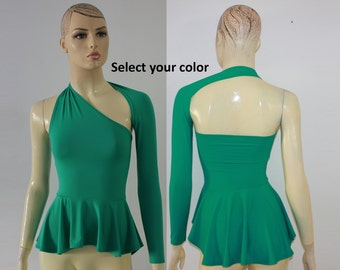 Peplum top Backless high low one shoulder St Patricks Day blouse with long sleeve