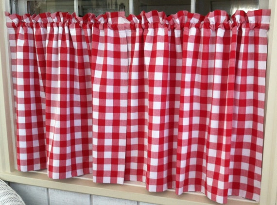 lined checked cafe curtains red navy deep by