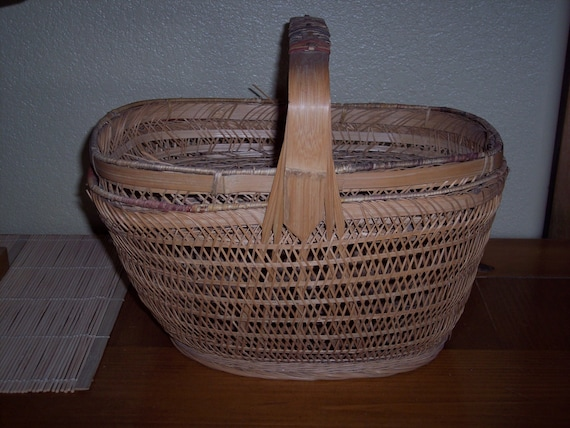Knitting Basket With Handles : Items similar to vintage covered basket with handle