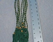 Seven Festive Tassels, Red and Green with Gold