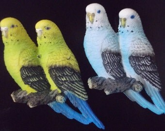 Budgerigar Fridge Magnets One Green and One Blue Handmade Budgie Magnets