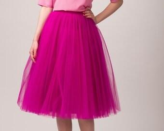 Fuchsia tulle skirt, Handmade long skirt, Handmade tutu skirt, High quality skirt, Tea length petticoat, Tea length skirt