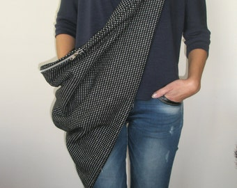 Handmade black and white hip bag