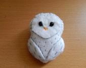 Snow Owl Felt Brooch