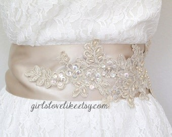 Light Gold Beaded Wide Champagne Sash , Bridal Sash, Bridesmaid Sash, Flower Girl Lace Sash