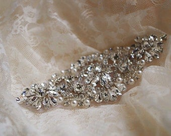 crystal bead applique, rhinestone bead Applique, bridal Sash applique, bridal headpiece applique