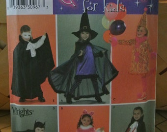 Simplicity Uncut Halloween Costume Pattern Witch Dracula Vampire Princess Clown