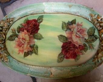 Vintage Shabby Chic Barbola Roses Vanity or Dresser Tray