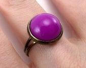 Bezel Ring - Electric Purple, antiqued brass