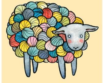 "Yarn Sheep- Sheep Illustration - Sheep Print - 8"" x 10 "" Multicolor Sheep"
