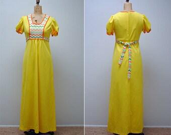 Vintage Maxi Dress- Yellow, Medium